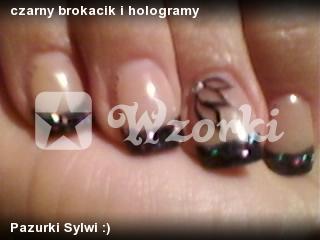 czarny brokacik i hologramy