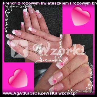 French z różowym kwiatuszkiem i różowym brokatem