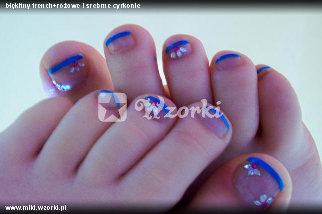 błękitny french+różowe i srebrne cyrkonie