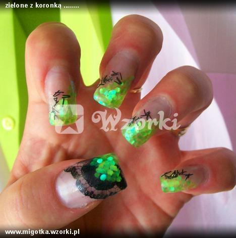 zielone z koronką ........