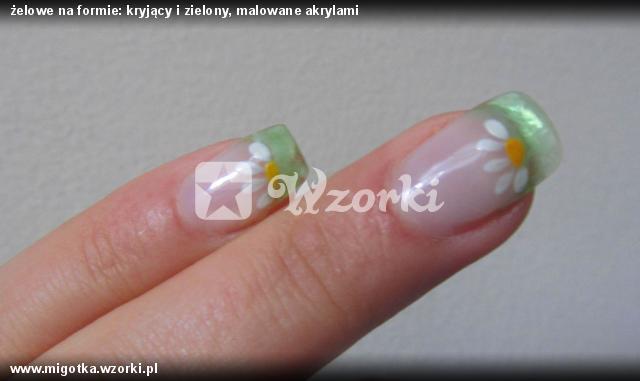 żelowe na formie: kryjący i zielony, malowane akrylami