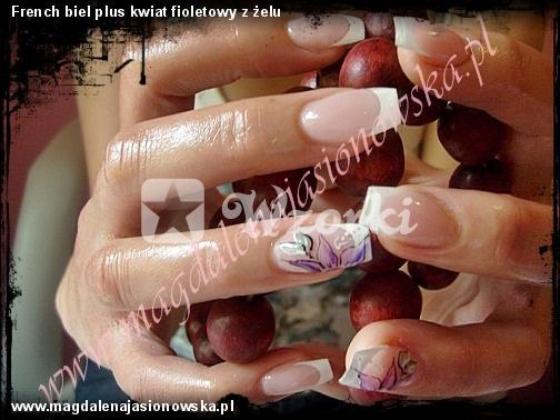 French biel plus kwiat fioletowy z żelu
