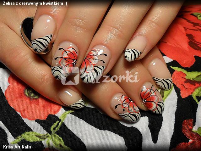 Zebra z czerwonym kwiatkiem ;)