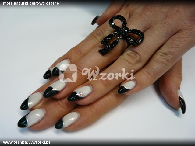 moje pazurki perłowo czarne