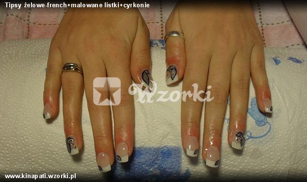 Tipsy żelowe-french+malowane listki+cyrkonie