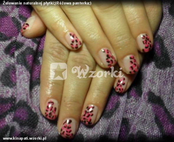 Żelowanie naturalnej płytki;)Różowa panterka;)
