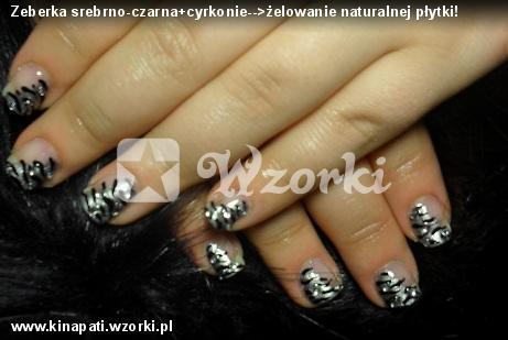 Zeberka srebrno-czarna+cyrkonie-->żelowanie naturalnej płytki!