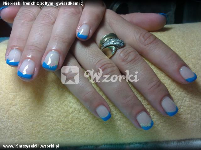 Niebieski french z zoltymi gwiazdkami :)