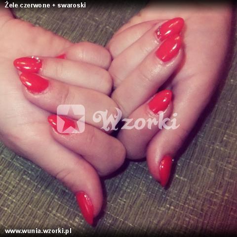 Żele czerwone + swaroski