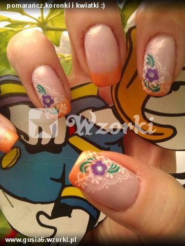 pomarańcz,koronki i kwiatki :)