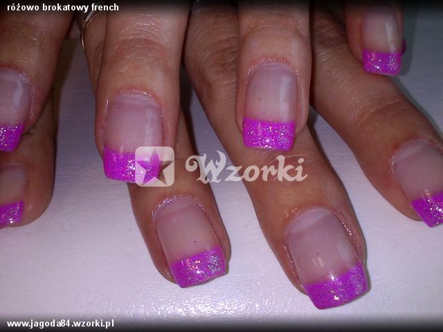 różowo brokatowy french