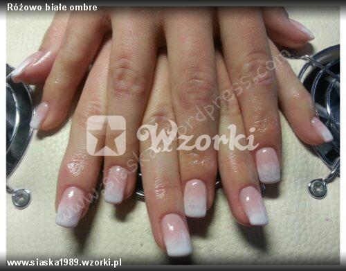 Różowo Białe Ombre Wzorkipl Tipsie Różowo Ombre Lakier