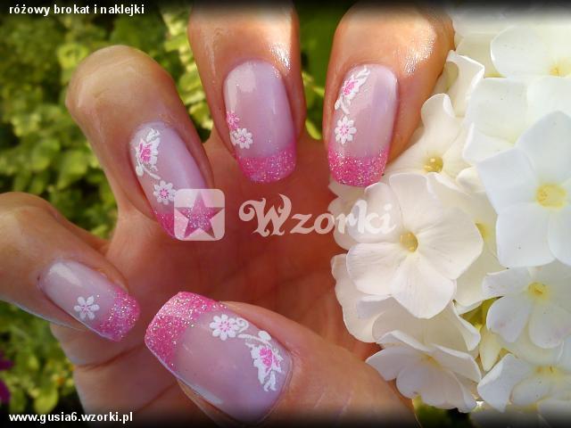 różowy brokat i naklejki