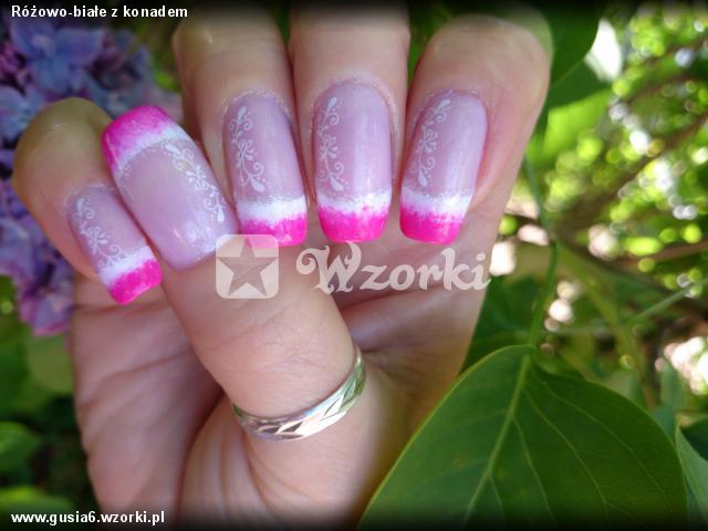 Różowo-białe z konadem