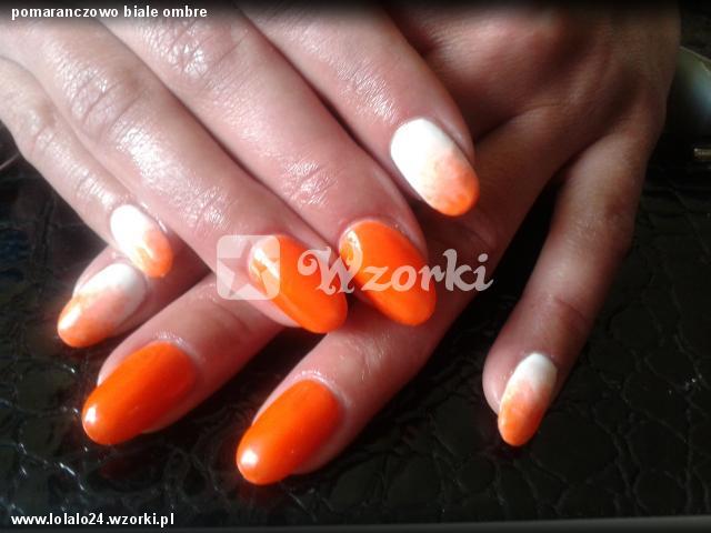 pomaranczowo biale ombre