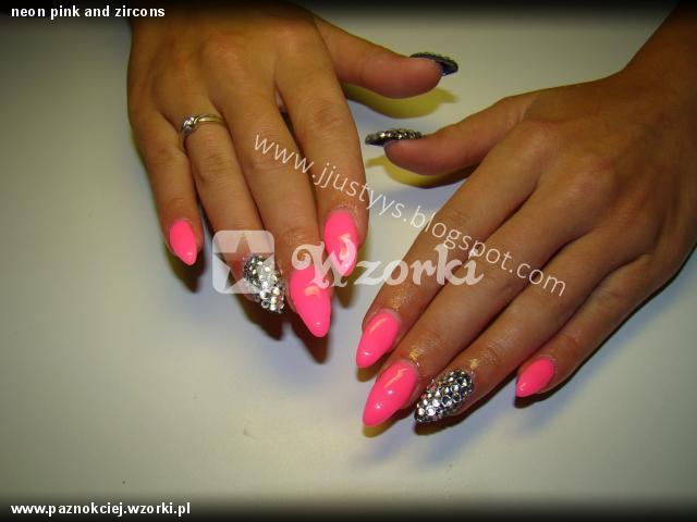 neon pink and zircons
