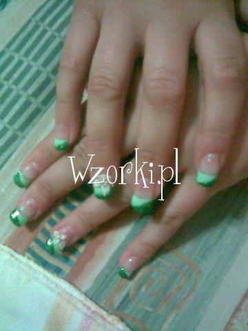 zielono brokatowe