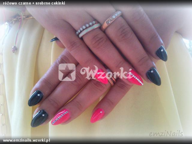 różowo czarne + srebrne cekinki