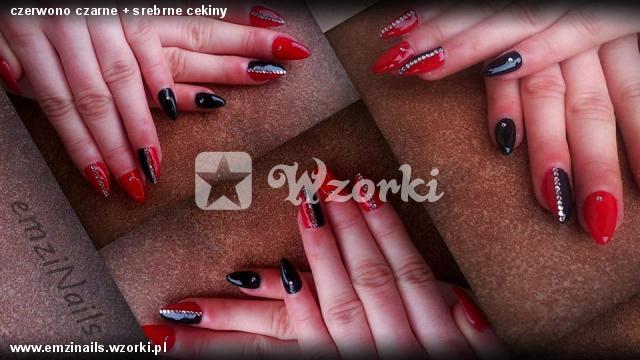 czerwono czarne + srebrne cekiny