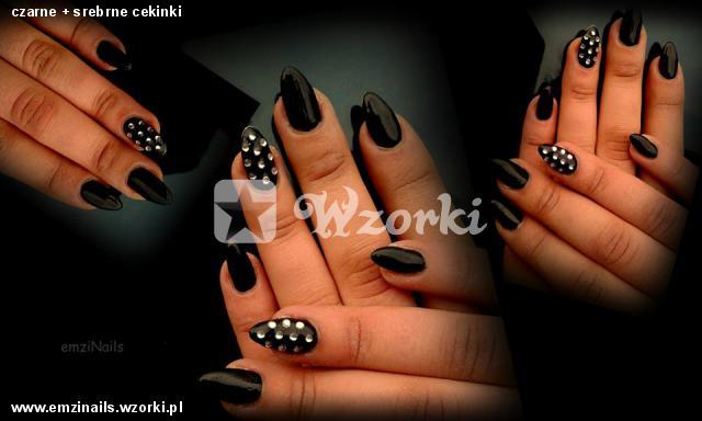 czarne + srebrne cekinki
