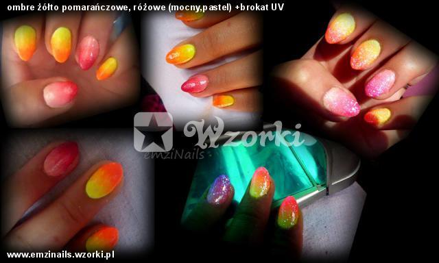 ombre żółto pomarańczowe, różowe (mocny,pastel) +brokat UV