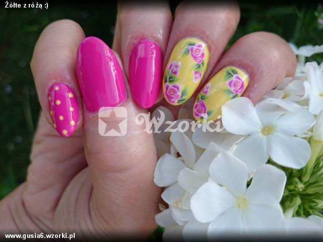 Żółte z różą :)