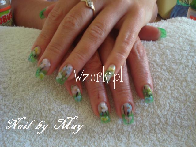 Zielony tips+akrylowe kwiatki