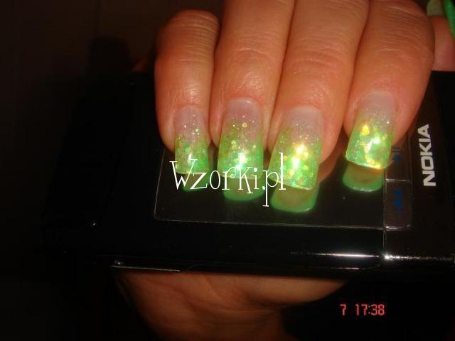 Żel kolor.zielony hologram+brokat:D