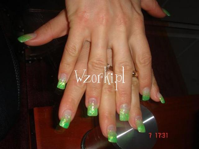 Żel zielone hologramy+brokacik:D