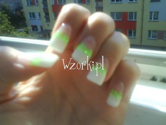 Zelowe - french z neonowym zielonym