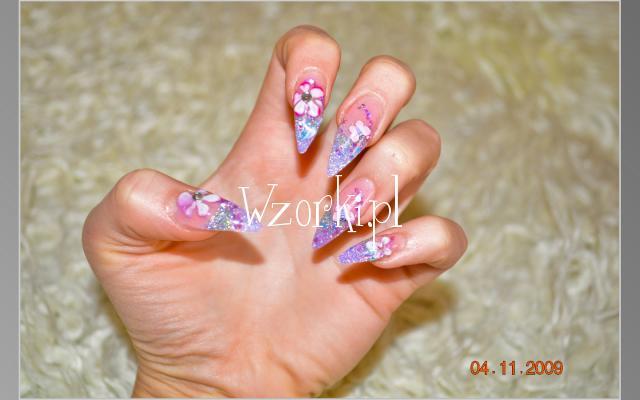 Wrzosowe szpice, kwiatki akrylowe i motylko fimo :)