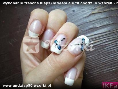 wykonanie frencha kiepskie wiem ale tu chodzi o wzorek - moje ulubione wazki:)