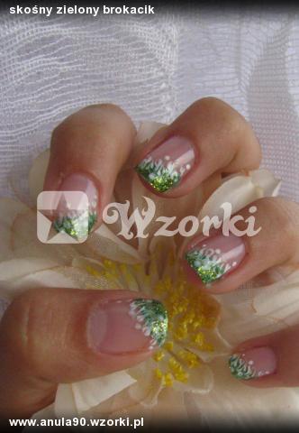 skośny zielony brokacik