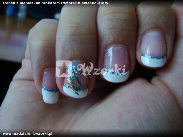 french z niebieskim brokatem i wzorek niebiesko-złoty