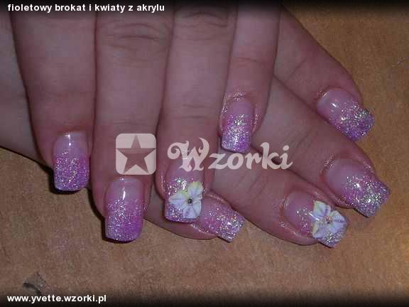 fioletowy brokat i kwiaty z akrylu